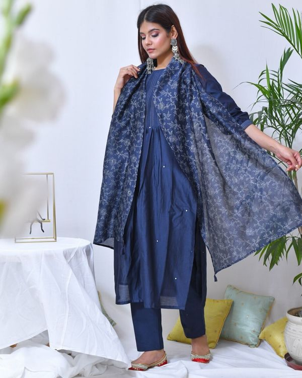 Blue mirror work striped kurta and pants with stole- Set Of Three 2