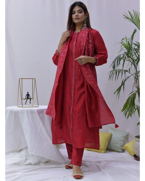 Red mirror work paneled kurta and pants with stole- Set Of Three 1