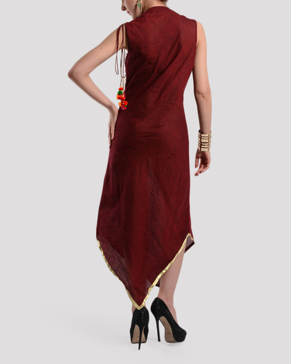 Maroon bias cut dress in mangalgiri 1