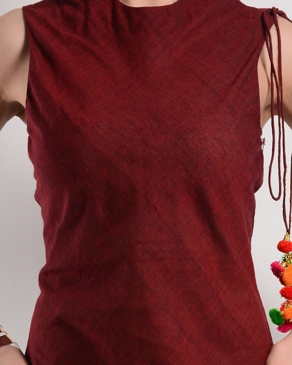 Maroon bias cut dress in mangalgiri 2