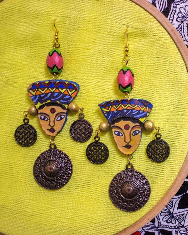 Tribal beaded terracotta earring 1