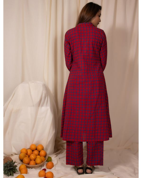 Red checkered button down kurta and pants- Set Of Two 2