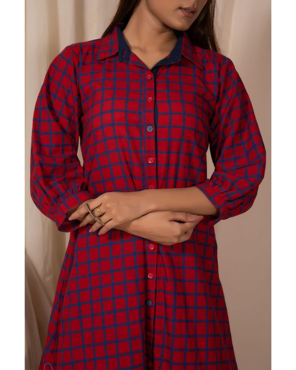 Red checkered button down kurta and pants- Set Of Two 1