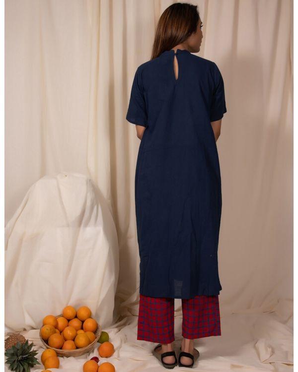 Indigo closed neck kurta and pants- Set Of Two 3