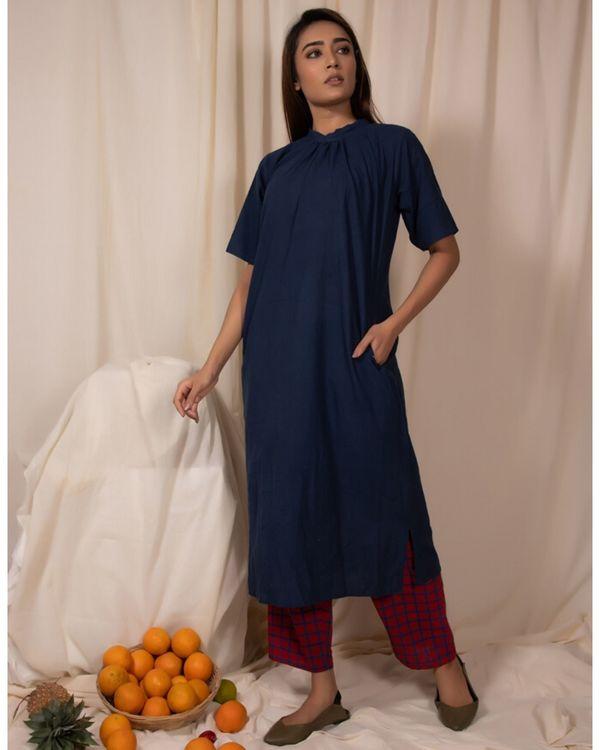 Indigo closed neck kurta and pants- Set Of Two 2