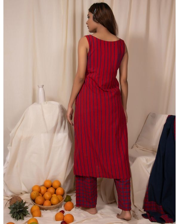 Red striped dress and pants- Set Of Two 2