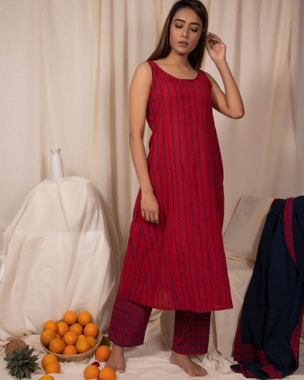 Red striped dress and pants- Set Of Two 1