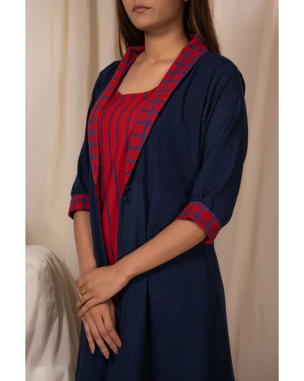 Indigo buttoned jacket and striped dress- Set Of Two 1