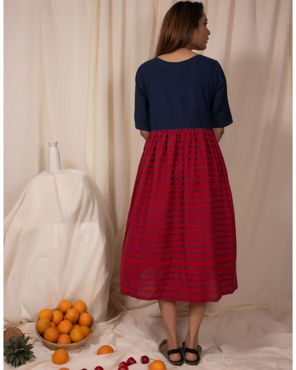 Indigo and red gathered dress with stripes detailing 3
