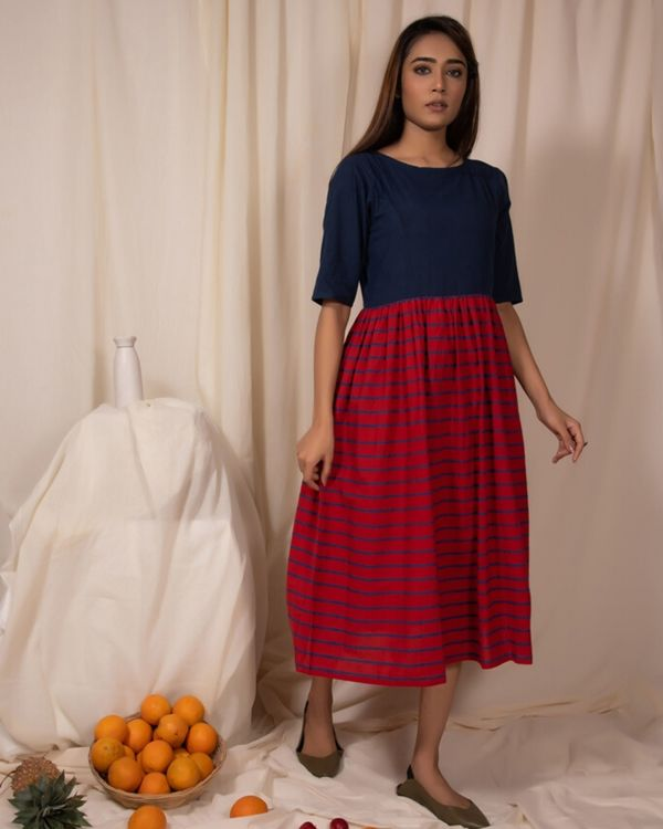 Indigo and red gathered dress with stripes detailing 2