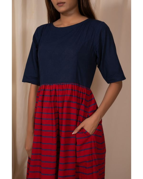 Indigo and red gathered dress with stripes detailing 1