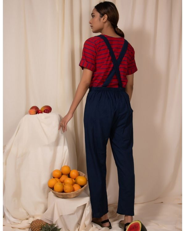 Red striped top and pants with gallaces- Set Of Two 2