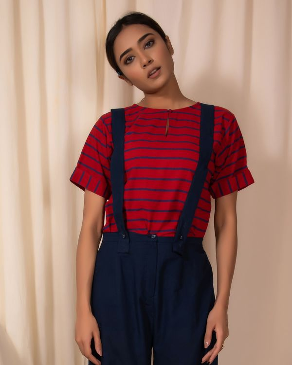 Red striped top and pants with gallaces- Set Of Two 1