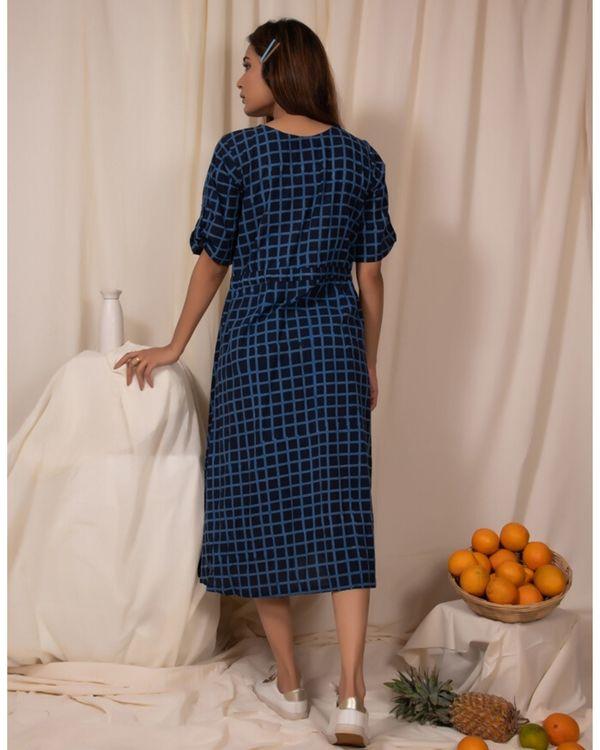 Indigo checkered tie-up dress 3