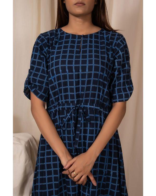 Indigo checkered tie-up dress 1