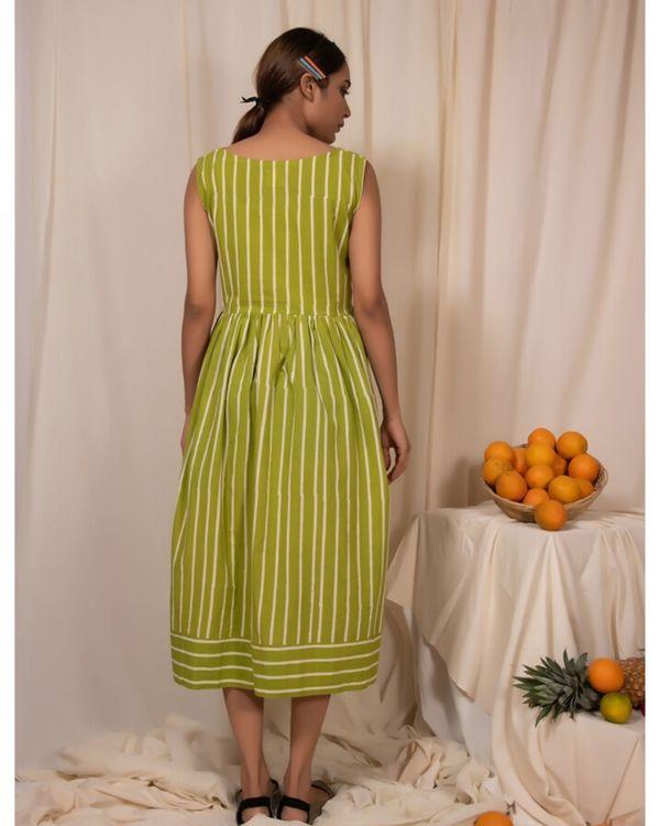 Lime green striped dress 3