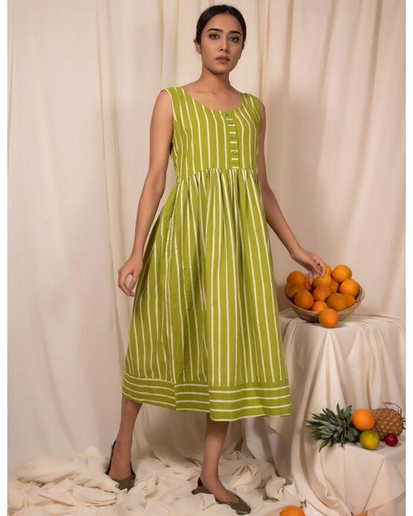 Lime green striped dress 2