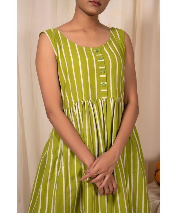 Lime green striped dress 1