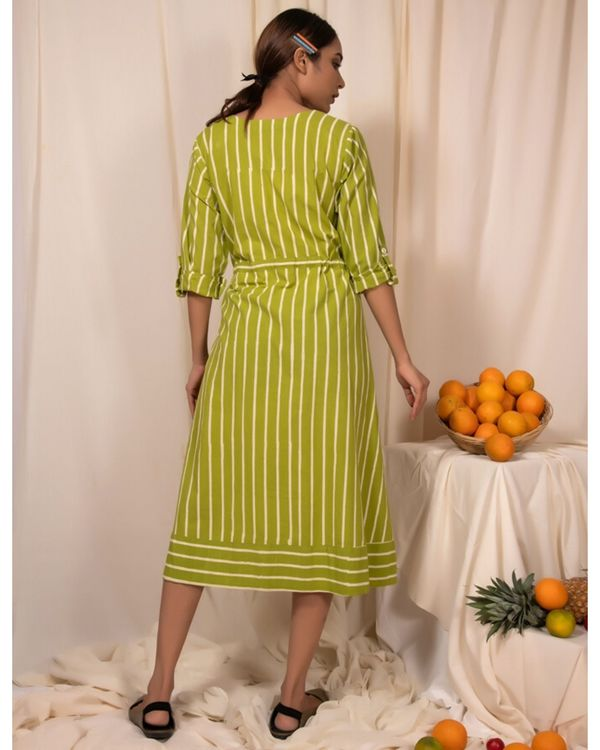 Lime green striped tie-up dress 3