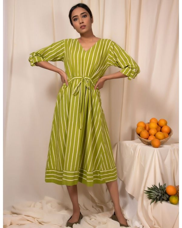 Lime green striped tie-up dress 2