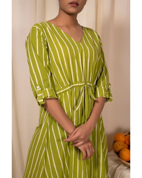 Lime green striped tie-up dress 1
