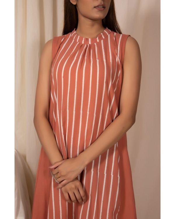 Peach striped dress 1