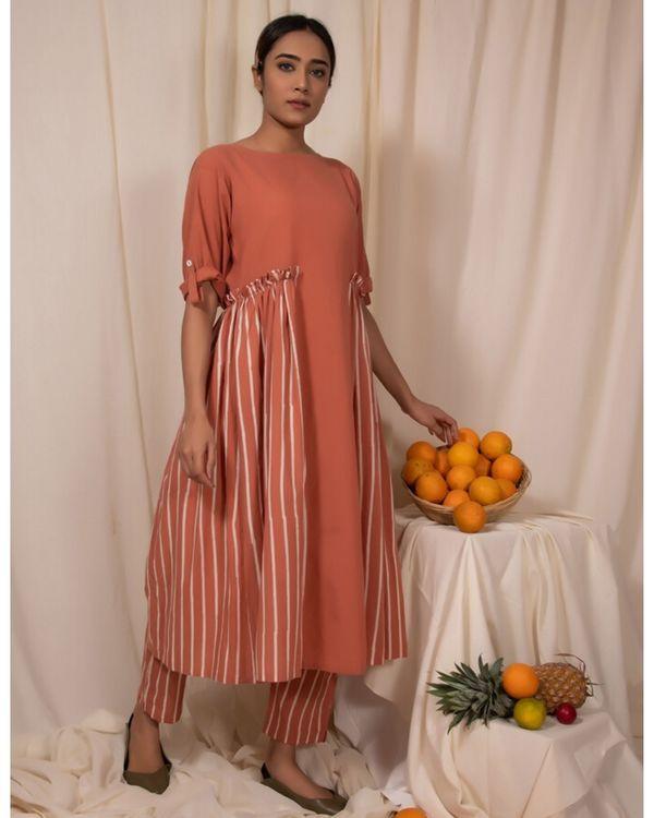 Peach striped panel dress 1