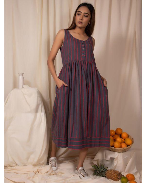 Grey striped dress with gathers 2