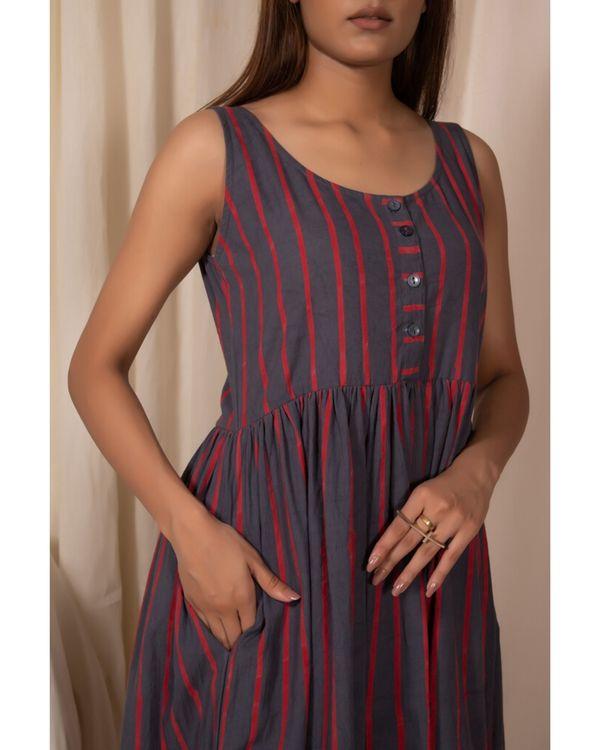 Grey striped dress with gathers 1