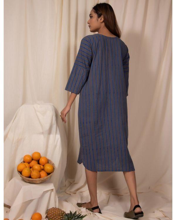 Bluish grey striped pocket kurta 2