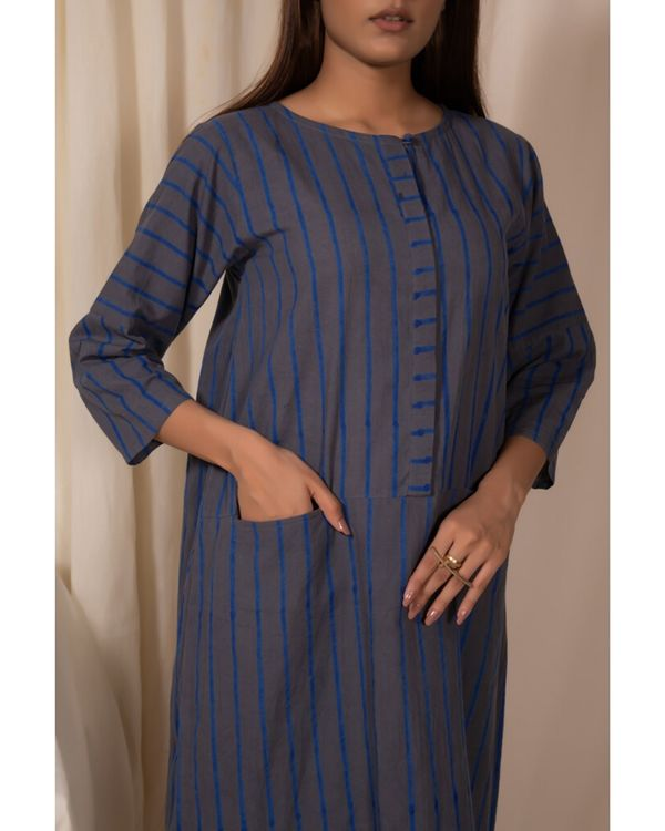Bluish grey striped pocket kurta 1