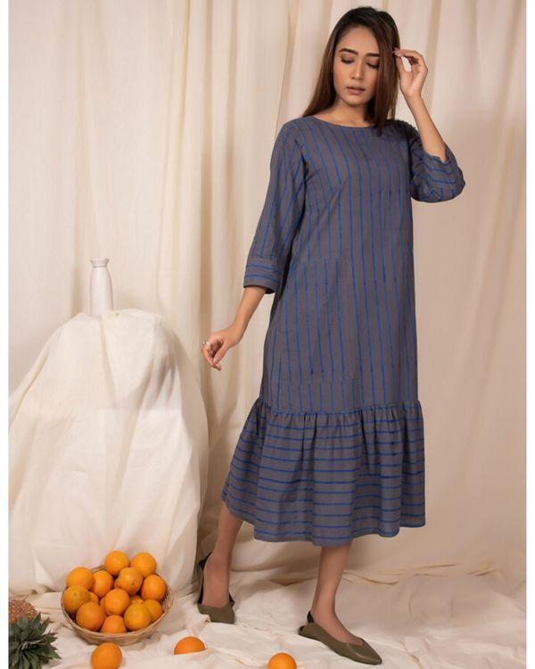 Bluish grey striped dress with gathers 1