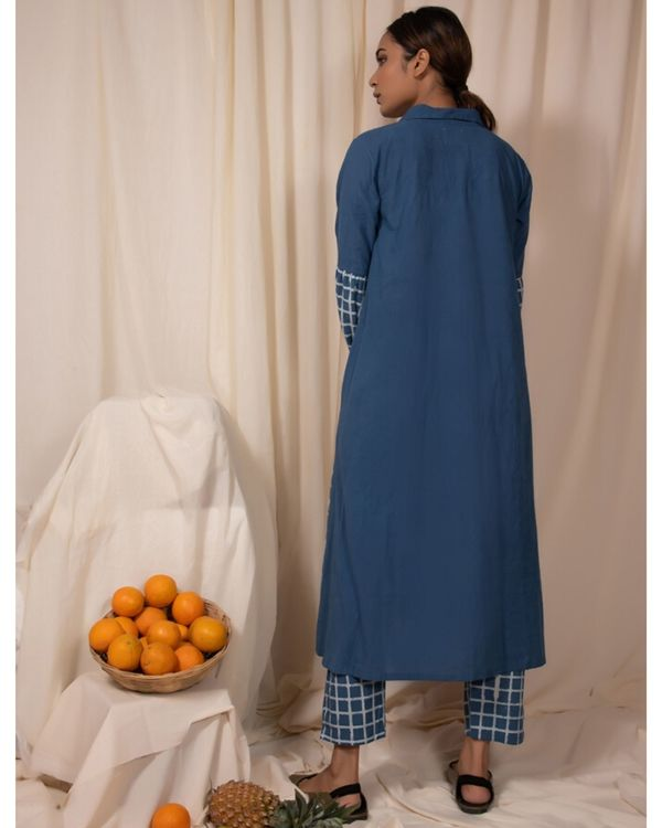 Blue checkered panel kurta and pants- Set Of Two 3