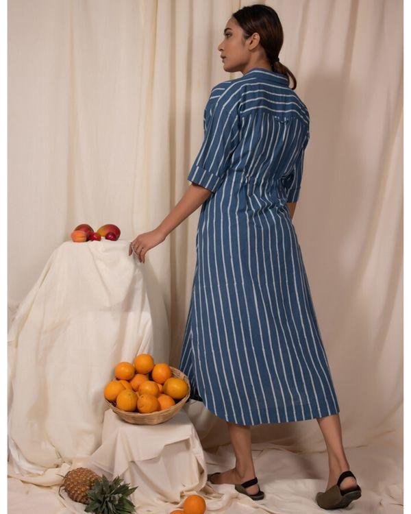 Blue striped shirt dress 3