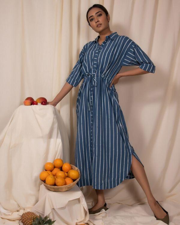 Blue striped shirt dress 2