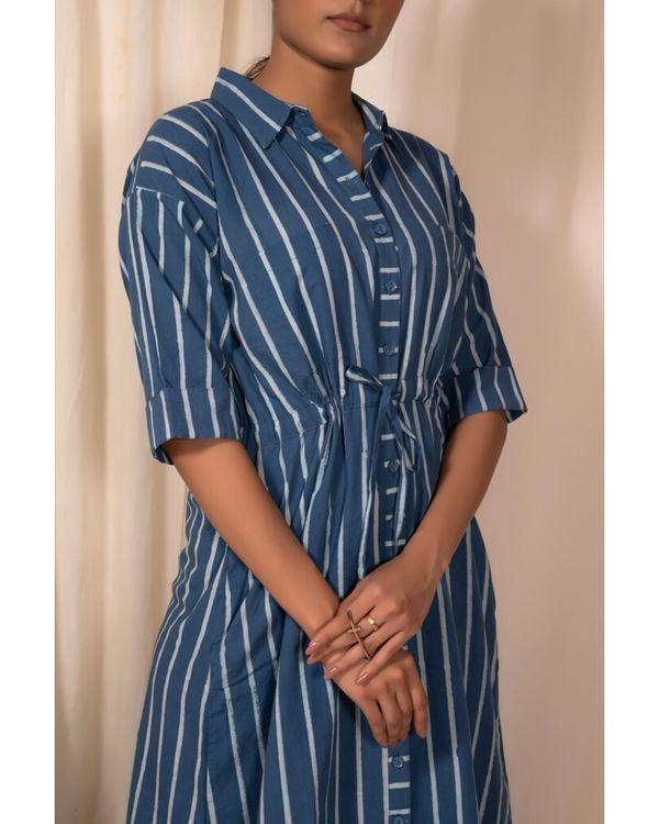 Blue striped shirt dress 1