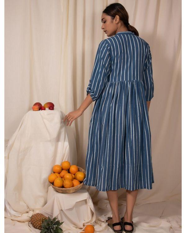 Blue striped button down dress 2