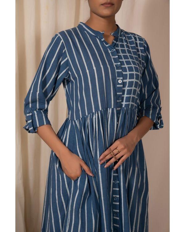 Blue striped button down dress 1