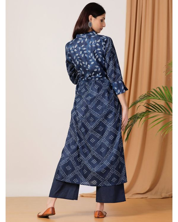 Indigo printed slit kurta and pants- Set Of Two 2
