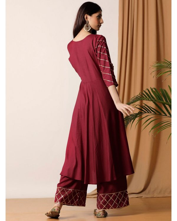 Maroon gota kurta and palazzo- Set Of Two 3
