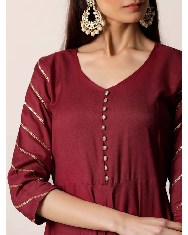 Maroon gota kurta and palazzo- Set Of Two 1
