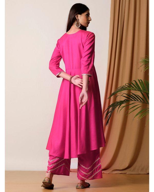 Rani pink flared kurta and palazzo- Set Of Two 3
