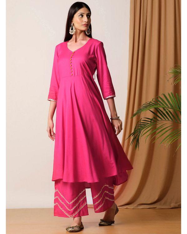 Rani pink flared kurta and palazzo- Set Of Two 2