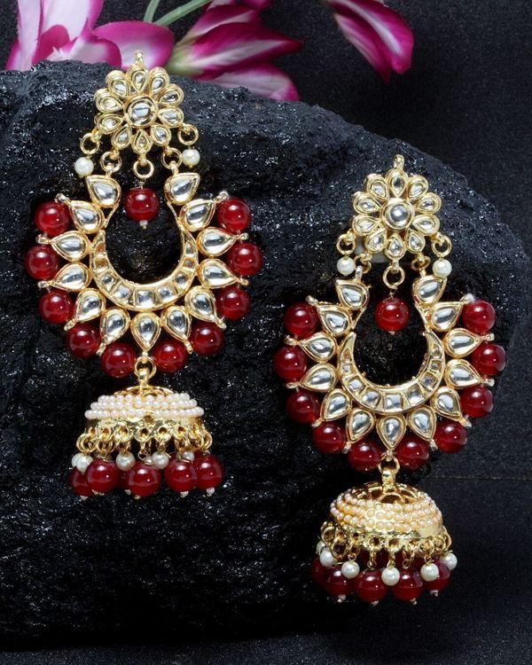 Kundan jhumka with red drops 1