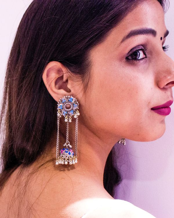 Blue and pink jhumar meenakari jhumka 1