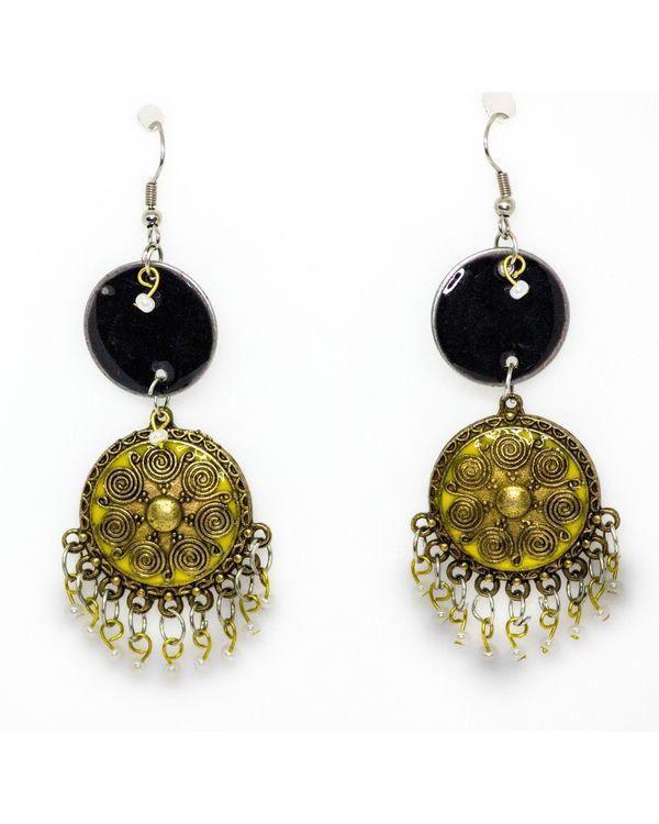 Black and yellow meenakari hook earrings 1