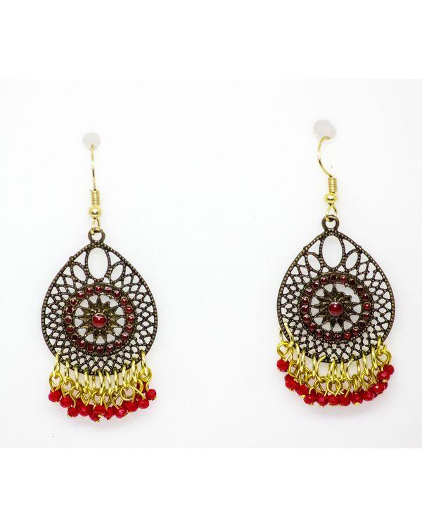 Red jaali hook earrings 1
