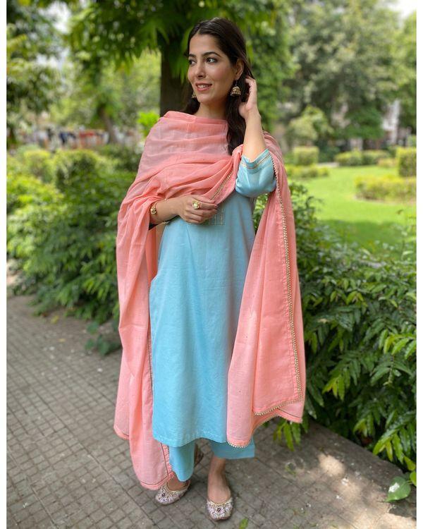 Turquoise gota kurta and pants with mukaish work dupatta- Set Of Three 2