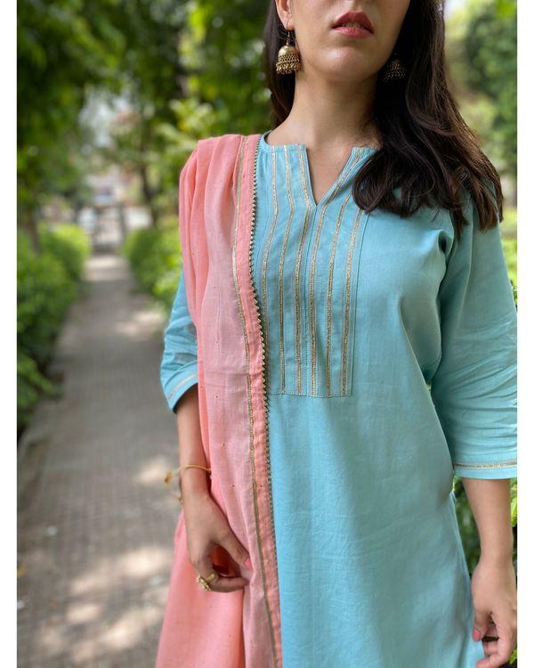 Turquoise gota kurta and pants with mukaish work dupatta- Set Of Three 1