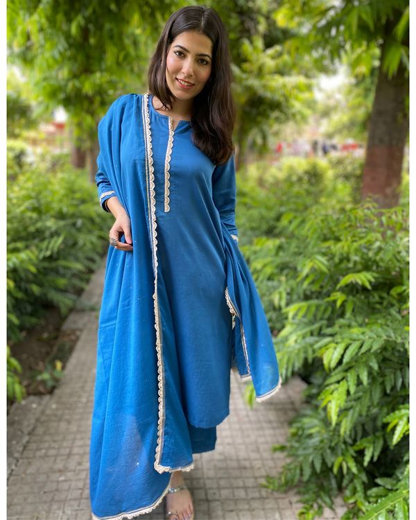 Cobalt blue mukaish work kurta and pants with dupatta- Set Of Three 2